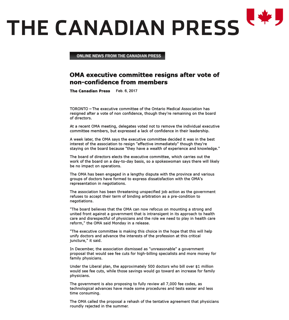Canadian Press 2017-02-06 - OMA executive committee resigns